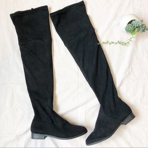 Express Womens Over The Knee Black Slip-on Boots 8